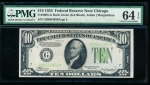 Fr. 2005-G 1934 $10 Federal Reserve Note Chicago PMG 64EPQ G26654850A