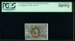 "Fr. 1246  $0.10 Fractional Second Issue: ""18-63"" and ""S"" surcharges PCGS 58PPQ no serial number"