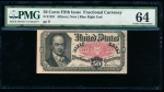Fr. 1381  $0.50 Fractional Fifth Issue; Blue Right End PMG 64 comment no serial number