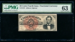 Fr. 1374 1864 $0.50 Fractional Fourth Issue: Lincoln PMG 63 no serial number