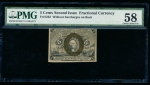 Fr. 1232  $0.05 Fractional Second Issue; without surcharges on back PMG 58 no serial number