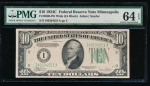 Fr. 2008-I 1934C $10 Federal Reserve Note Wide, Minneapolis PMG 64EPQ I40204551A