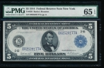 Fr. 850 1914 $5 Federal Reserve Note New York PMG 65EPQ B92528177A