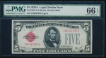 Fr. 1526 1928A $5 Legal Tender CA block PMG 66EPQ C86767537A