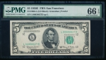 Fr. 1966-L 1950E $5 Federal Reserve Note San Francisco PMG 66EPQ L00958827D