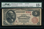 Fr. 470 1882 $5 National: Brown Back Ch# 3744 The Second National Bank of Hoboken, New Jersey PMG 15NET 1320