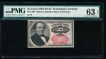Fr. 1309 1875 $0.25 Fractional Fifth Issue; short, thick key PMG 63EPQ no serial number