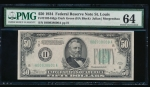 Fr. 2102-H 1934 $50 Federal Reserve Note Saint Louis PMG 64 H00938600A