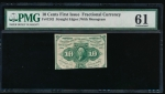 Fr. 1242  $0.10 Fractional First Issue: Straight Edges With Monogram PMG 61 no serial number