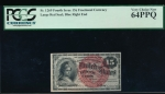 Fr. 1269  $0.15 Fractional Fourth Issue; Blue Right End, 40mm seal PCGS 64PPQ no serial number