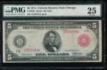 Fr. 838a 1914 $5 Federal Reserve Note red seal Chicago PMG 25 G379974A