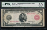 Fr. 833b 1914 $5 Federal Reserve Note red seal New York PMG 30 comment B10650794A
