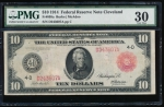 Fr. 895a 1914 $10 Federal Reserve Note red seal Cleveland PMG 30 D243607A