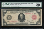 Fr. 893b 1914 $10 Federal Reserve Note red seal New York PMG 20 B11806015A