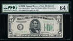 Fr. 1956-E 1934 $5 Federal Reserve Note mule, Richmond PMG 64EPQ E08007175A