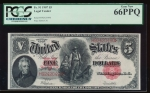 Fr. 91 1907 $5 Legal Tender  PCGS 66PPQ H92420490