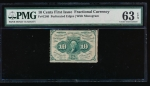 Fr. 1240 1862 $0.10 Fractional 1st Series: Perforated Edges with Monogram PMG 63EPQ no serial number