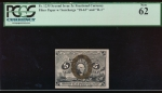 "Fr. 1235  $0.05 Fractional 2nd Issue: Fiber Paper with ""18-63"" and ""R-1"" surcharges PCGS 62 no serial number"
