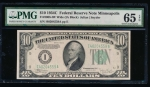 Fr. 2008-I 1934C $10  Federal Reserve Note Wide, Minneapolis PMG 65EPQ I40204559A