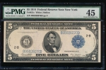 Fr. 851c 1914 $5  Federal Reserve Note New York PMG 45 B95926070D