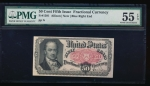 Fr. 1381  $0.50  Fractional Fifth Issue: Blue Right End PMG 55EPQ no serial number