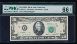 Fr. 2073-L 1981 $20  Federal Reserve Note San Francisco PMG 66EPQ L37968213D