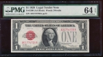 Fr. 1500 1928 $1  Legal Tender  PMG 64EPQ A01774720A