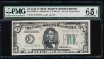 Fr. 1956-E 1934 $5  Federal Reserve Note Richmond mule PMG 65EPQ E54560987A