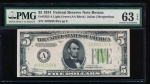 Fr. 1955-A 1934 $5  Federal Reserve Note Boston LGS PMG 63EPQ A03965159A