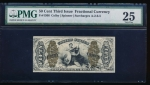 "Fr. 1366  $0.50  Fractional Third Issue: Justice. ""A-2-6-5"" Surcharges, green back PMG 25 no serial number"
