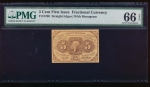 Fr. 1230  $0.05  Fractional First Issue: Straight Edges with  Monogram PMG 66EPQ no serial number