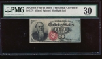 Fr. 1376 1869 $0.50  Fractional Fourth Issue: Blue Right End PMG 30 no serial number
