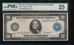 Fr. 977 1914 $20  Federal Reserve Note Cleveland PMG 25 D10207651A
