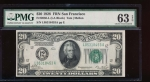 Fr. 2050-L 1928 $20  Federal Reserve Note San Francisco PMG 63EPQ L05318453A