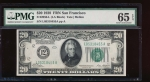 Fr. 2050-L 1928 $20  Federal Reserve Note San Francisco PMG 65EPQ L05318455A