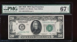 Fr. 2050-L 1928 $20  Federal Reserve Note San Francisco PMG 67EPQ L05318479A