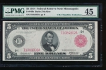 Fr. 840b 1914 $5  Federal Reserve Note Minneapolis red seal PMG 45 I1084802A