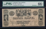 Fr. H LA-105 G 1840s $20  Obsolete Canal Bank New Orleans Louisiana PMG 66EPQ no serial number
