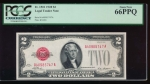 Fr. 1501 1928 $2  Legal Tender AA block PCGS 66PPQ A40985747A