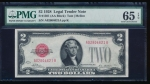 Fr. 1501 1928 $2  Legal Tender AA block PMG 65EPQ A02804621A