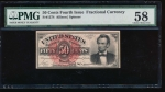 Fr. 1374 1864 $0.50  Fractional Fourth Issue: Lincoln PMG 58 no serial number