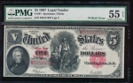 Fr. 91 1907 $5  Legal Tender PCBLIC error PMG 55EPQ M37516271