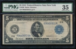 Fr. 850 1914 $5  Federal Reserve Note New York PMG 35 B96456324A
