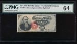 Fr. 1376 1869 $0.50  Fractional Fourth Issue: Blue Right End PMG 64 no serial number