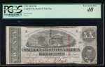 Fr. T-58 1863 $20  Confederate  PCGS 40 comment 38406