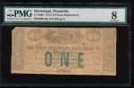 Fr. H MS-230 G 1860 $1  Obsolete West Feliciana Railroad Co,, Woodville, Mississippi PMG 8 868