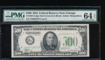 Fr. 2201-G 1934 $500  Federal Reserve Note Chicago PMG 64EPQ G00069977A