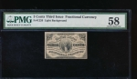 Fr. 1226  $0.03  Fractional Third Issue: Light Background PMG 58 no serial number
