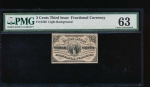 Fr. 1226  $0.03  Fractional Third Issue: Light Background PMG 63 no serial number