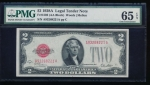 Fr. 1502 1928A $2 Legal Tender AA block PMG 65EPQ A93268221A